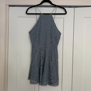 Grey lace mini dress open button back fit & flare